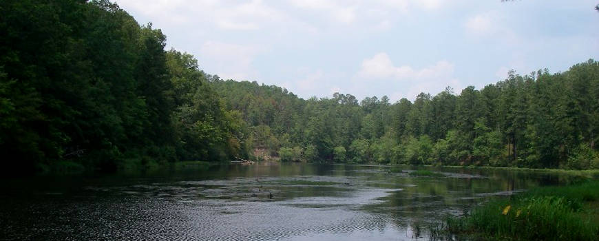 A view across Chinnabee Lake in Talladega National Forest