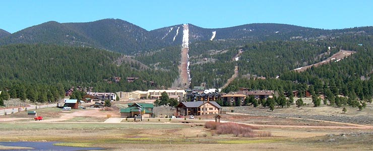 Angel Fire Resort from the town of Angel Fire