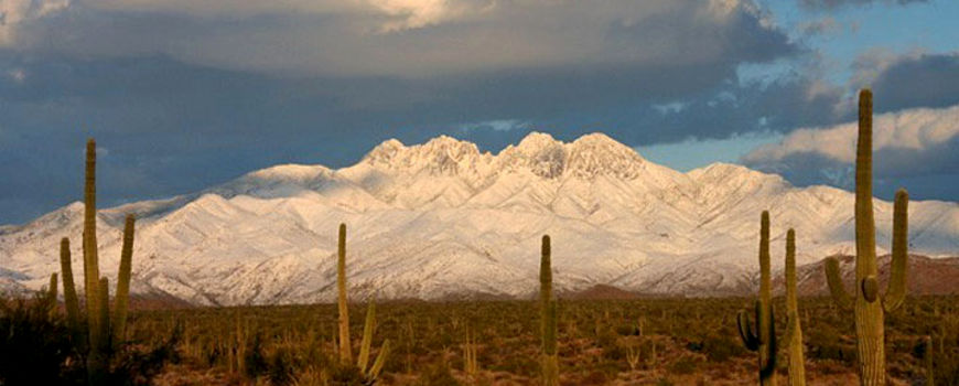 A winter view of Four Peaks Wilderness