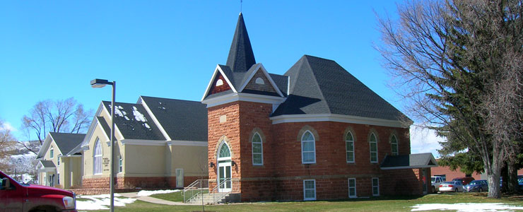 The original LDS church in Laketown, next to the new one