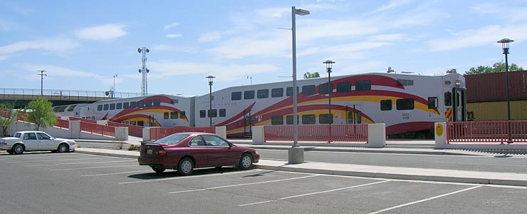 The New Mexico RailRunner at Belen Station