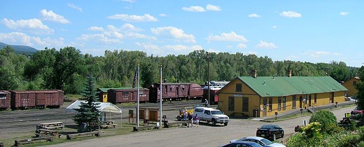 The Cumbres & Toltec Scenic Railroad stationhouse in Chama