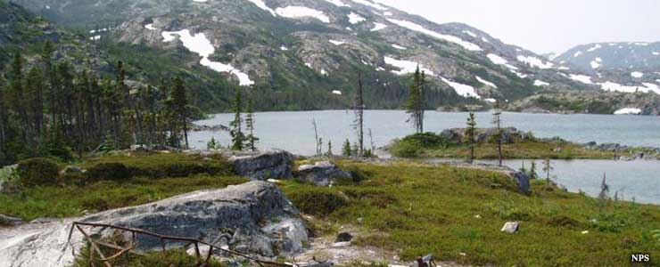 The lakes at the end of the Chilkoot Trail