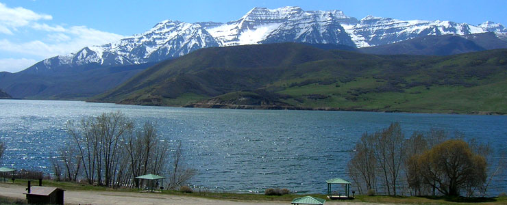 Mount Timpanogos across Deer Creek Reservoir