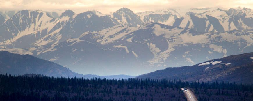 A view of the Alaska Range in Denali National Park