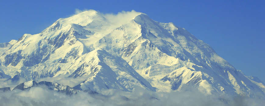 A close-up view of Denali Summit