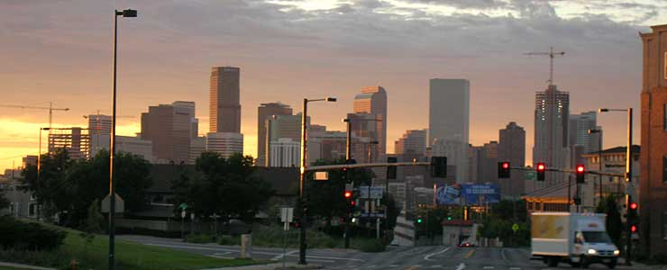 The Denver skyline at dawn