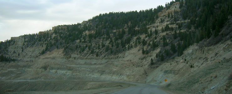 The canyon side below Douglas Pass