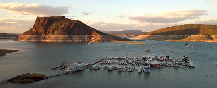 The marina at Elephant Butte Lake State Park
