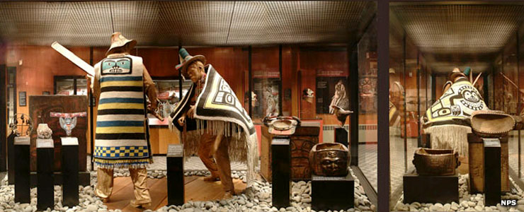 A Tlingit exhibit inside the Sitka National Historical Park Visitor Center
