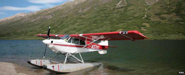 Float plane on a lake in Alaska