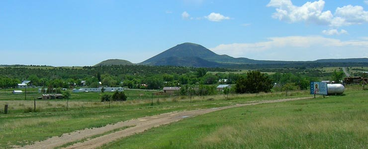 Capulin Volcano is south of Folsom