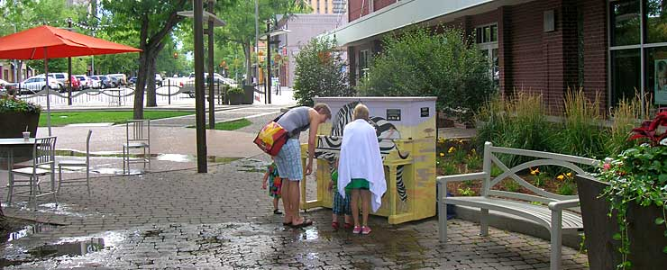 At the kids water fountain in downtown Fort Collins