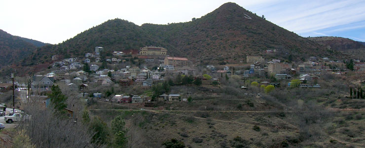 Looking back up the hill across Jerome