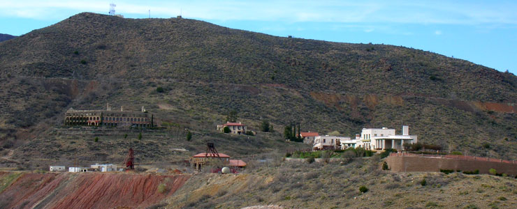 The view across the arroyo to Douglas Mansion