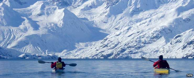 Kayakers on the ocean