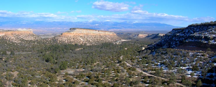 Looking east on the road into Los Alamos