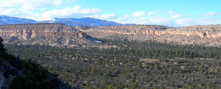Looking west on the road into Los Alamos