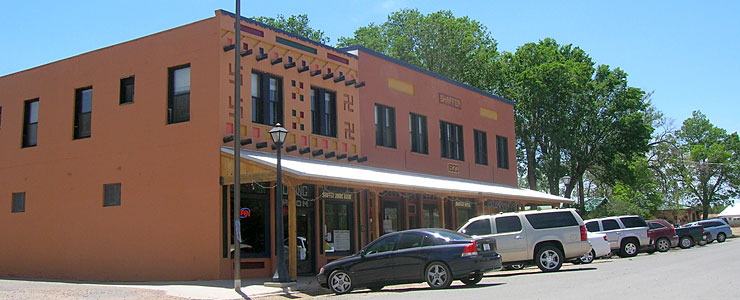 The historic Shaffer Hotel in Mountainair