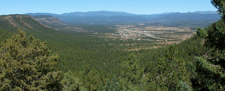 A view of Pecos from atop Rowe Mesa