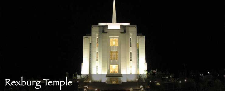 Rexburg LDS Temple at night
