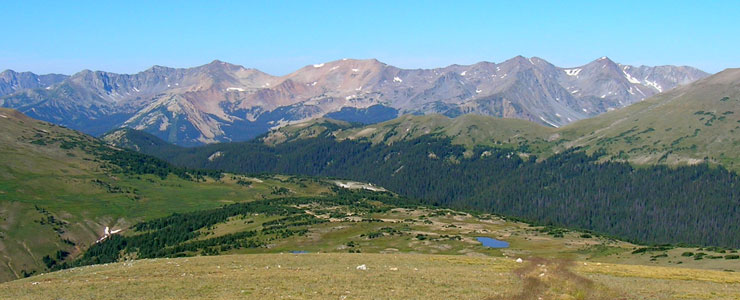 The view west at the summit of Trail Ridge Road