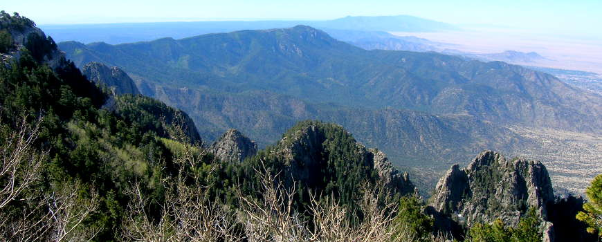 Looking southwest from the overlook at the top of Sandia Peak in New Mexico