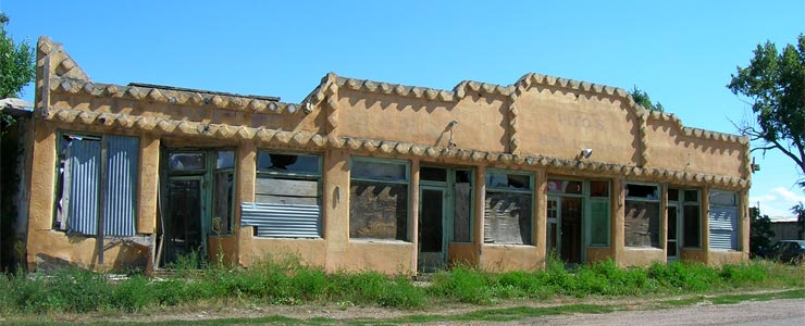Abandoned storefronts in downtown Tierra Amarilla
