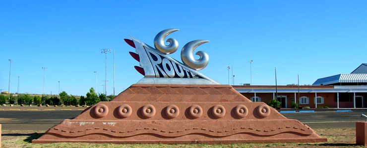 The famous Route 66 sculpture on the west side of Tucumcari