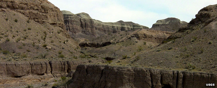 The heavily eroded Afton Canyon on Mojave National Preserve