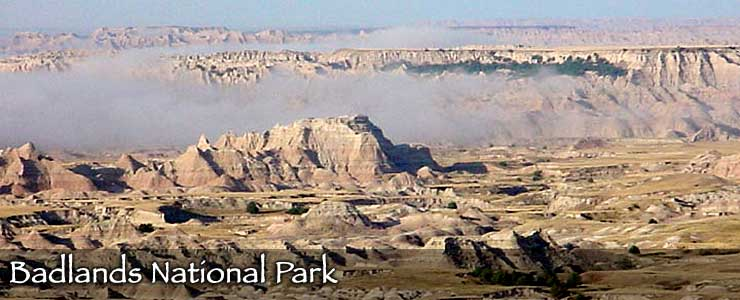 Looking down into Badlands National Park on a foggy morning
