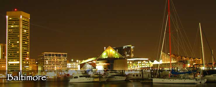 Baltimore's Inner Harbor at night