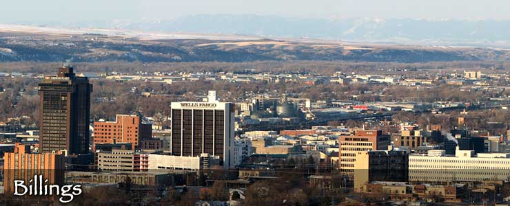 A view from above across downtown Billings, Montana