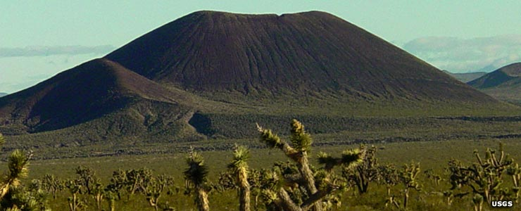 A typical volcanic cinder cone in the desert
