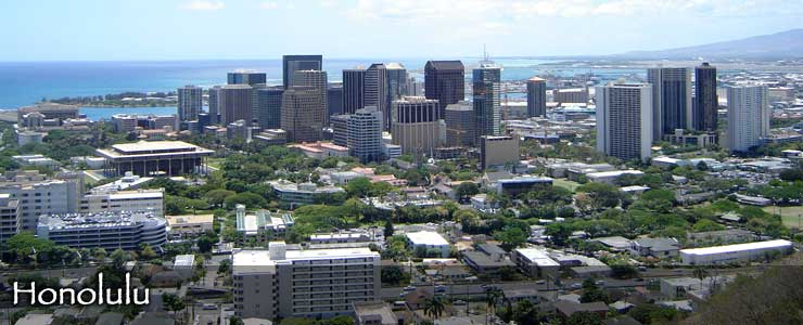 An aerial view of the Honolulu skyline