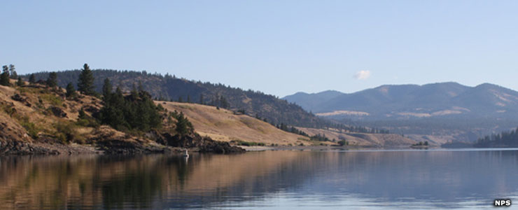 Looking across Lake Roosevelt to forest and hills at Lake Roosevelt National Recreation Area