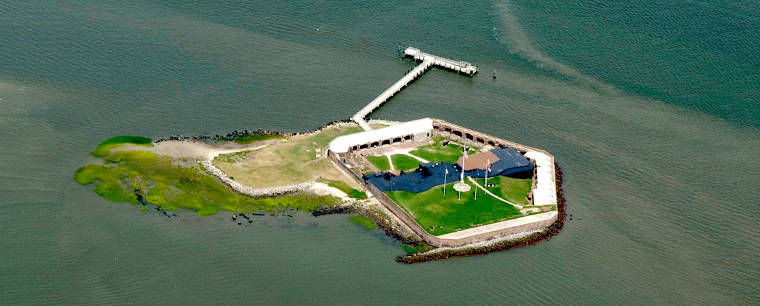 An aerial view of Fort Sumter