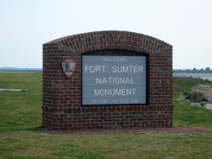 A welcome sign at Fort Sumter National Monument