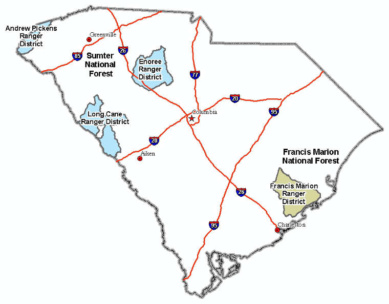 Map showing locations of the South Carolina National Forests