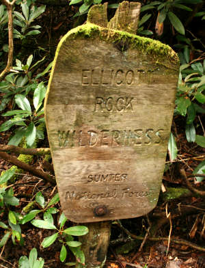 Sign marking Ellicott Rock Wilderness