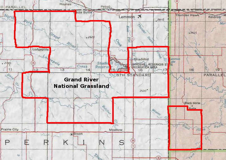 Map of the Grand River National Grassland area