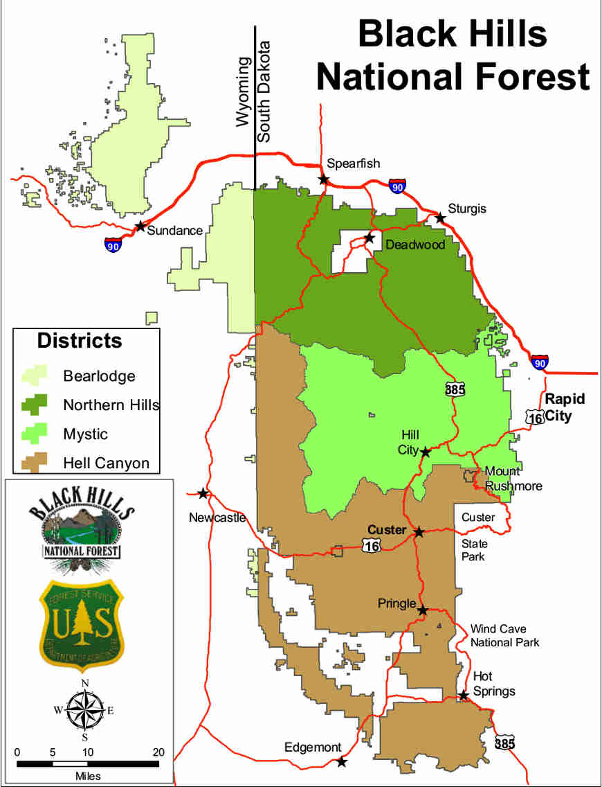 Map of Black Hills National Forest