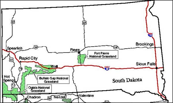 Map showing location of Fort Pierre National Grassland