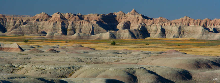 The yellow mounds in Badlands National Park