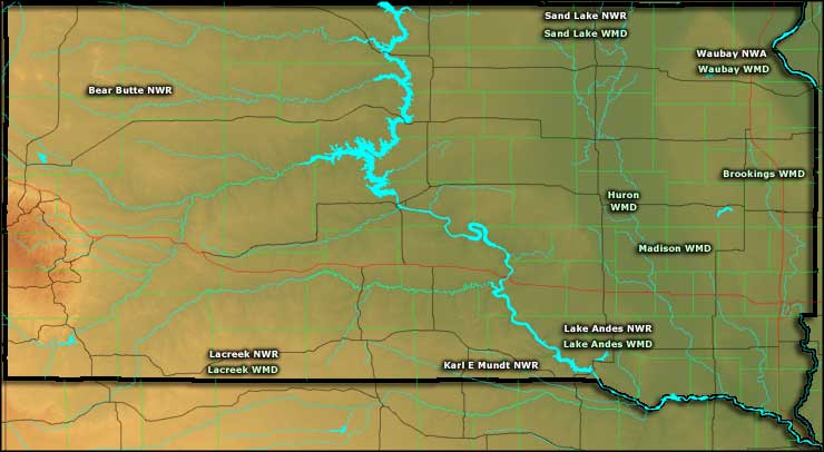 Map of the National Wildlife Refuges in South Dakota