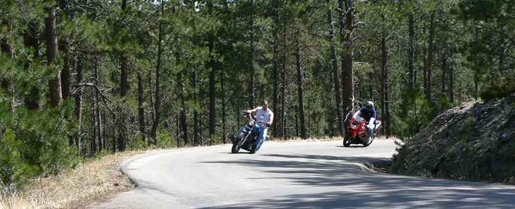 Riding motorcycles on the Wildlife Loop Road Scenic Byway