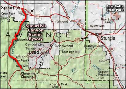 Spearfish Canyon Scenic Byway area map