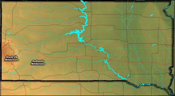 South Dakota's wilderness areas location map