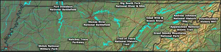 Locations of the National Park Service Sites in Tennessee