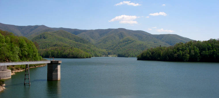 Looking across Watauga Lake